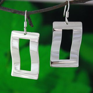 Sterling Silver Wavy Rectangle Dangle Earrings (Mexico)