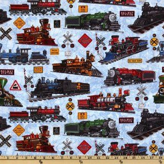44 Wide Just Train Crazy Locomotives Map Lt. Blue Fabric