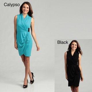 Calvin Klein Womens Draped Ruched Dress