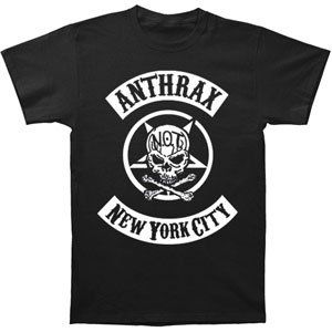 Rockabilia Anthrax Biker Skull T shirt Clothing