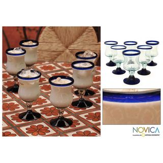 Set of 6 Spring Blown Glasses (Mexico)