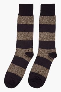Marc By Marc Jacobs Metallic Gold Striped Cotton lurex Socks for men