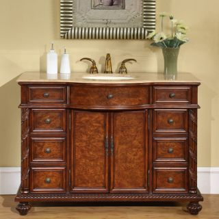 Silkroad Exclusive Marble Stone Top 48 inch Single Sink Cabinet