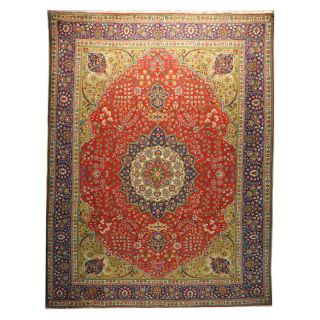 Hand knotted Persian Tabriz Red/Blue Wool Rug (910 x 124