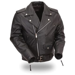 FMC Mens Black Classic Leather Motorcycle Jacket