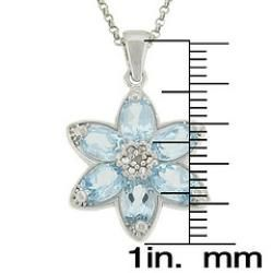 Sterling Silver Blue Topaz and Diamond Accent Flower Necklace