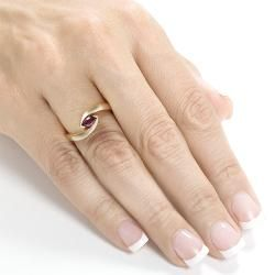 14k Yellow Gold Marquise cut Ruby Ring