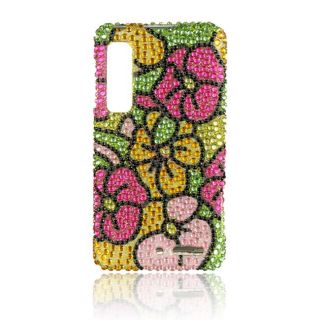 Luxmo Hawaiian Flower Rhinestone Case for Motorola Droid 3/ XT862