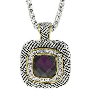 Journee Collection Two tone Pave set Cushion cut CZ Necklace
