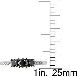 Miadora 10k Gold 1/2ct TDW Black and White Diamond 3 stone Ring (I J