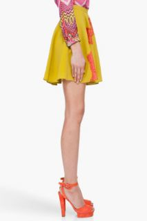 CARVEN Mustard Lace Front Silk Skirt for women