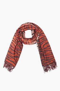 Mulberry Rust Leopard/tiger Print Cashmere Scarf for women