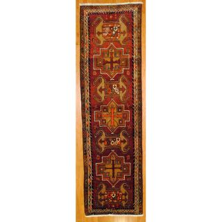 Persian Hand knotted Red/ Ivory Hamadan Wool Rug (38 x 131