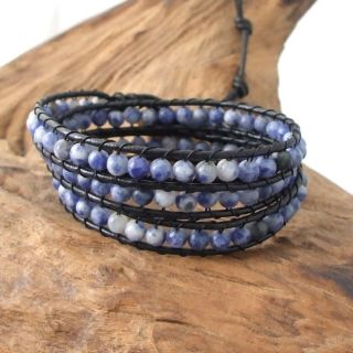 Blue Sodalite Treasure Triple Wrap Leather Bracelet (Thailand