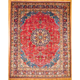 Persian Hand knotted Mashad Red Wool Rug (99 x 125)
