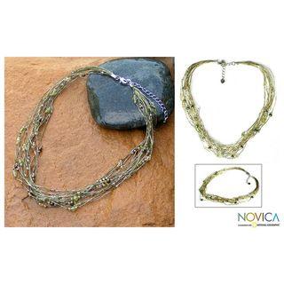 Pearl and Peridot River Of Green Torsade Necklace (Thailand