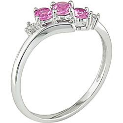 Miadora 10k White Gold Pink Topaz and Diamond Ring