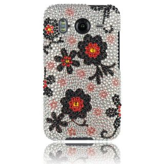 Luxmo Black Daisy Rhinestone Protector Case for HTC Inspire 4G