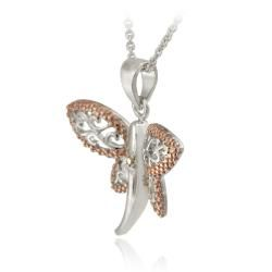DB Designs Rose Gold over Silver Champagne Diamond Filigree Dragonfly