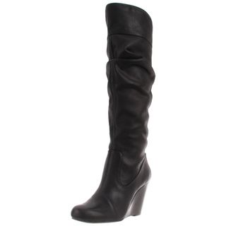 Jessica Simpson Womens Pasha Black Leather Knee high Boots