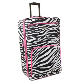 Rockland Pink Zebra 24 inch Expandable Rolling Upright Luggage