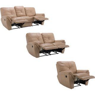 Dakota Beige Reclining Leather Sofa Loveseat and Reclining Chair