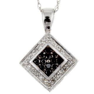 10k Gold 1/4ct TDW Black/ White Diamond Necklace (J, I2)