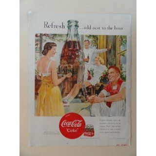 Coca Cola. 1950 full page print advertisement. (girl and boys taking a