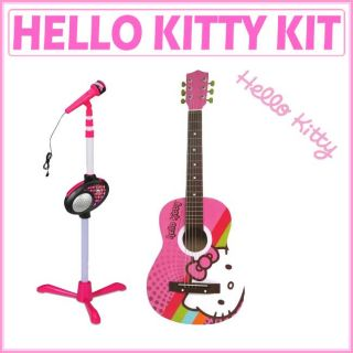 Hello Kitty Pink Microphone Stand with Microphone and Acoustic Guitar