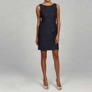 Jessica Howard Womens Petite Diagonal Tiered Dress