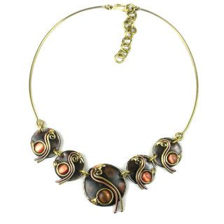 Handcrafted Peach Tiger Eye Swirl Brass Necklace (South Africa