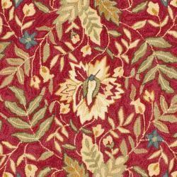 Handmade Boitanical Red/ Ivory Wool Rug (8 Square)
