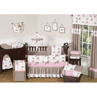 Sweet Jojo Designs Pink Mod Elephant 9 piece Crib Bedding Set See