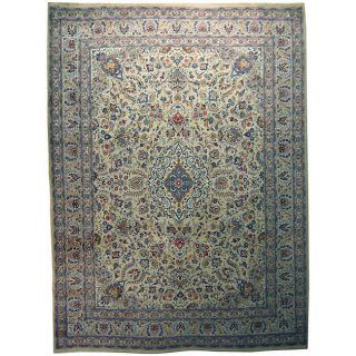 Persian Kashan Hand knotted Ivory Wool Rug (10 x 135)