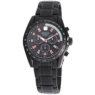 Swiss Military Mens Supersonic Black Stainless Steel Red Marker