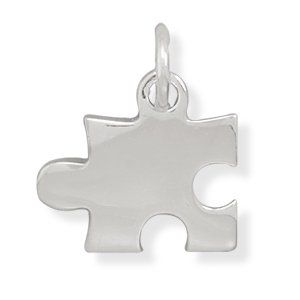 Rhodium Plated Puzzle Piece Pendant Jewelry