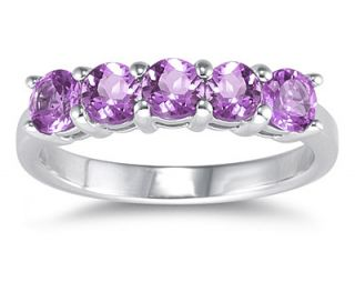 14k White Gold 5 stone Amethyst Ring