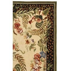 Hand hooked Rooster and Hen Cream/ Black Wool Rug (6 x 9