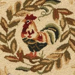Hand hooked Rooster and Hen Cream/ Black Wool Rug (8 Round