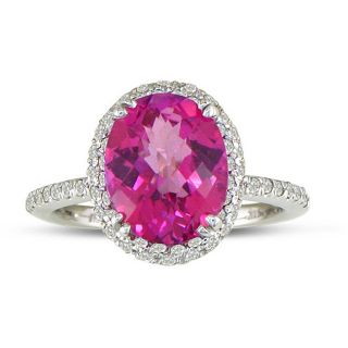 14k White Gold Pink Topaz and 1/2ct TDW Diamond Ring (J/K, I2/I3