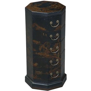 Black Bonded Leather Hand painted Oriental End Table