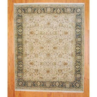 Indo Hand knotted Farahan Beige/ Teal Wool Rug (8 x 10)