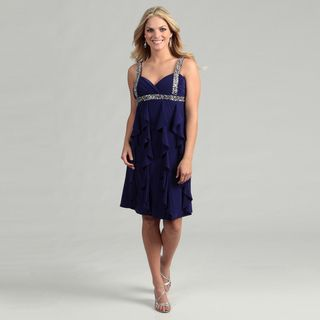 Scarlett Womens Purple Beaded Ruffle Dress