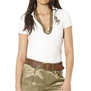 Ralph Lauren Womens Skinny Sequin Pony Pique Polo Today $69.99   $73