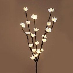 Brown 24 Inch Flower Branch With 20 LED Lights   Battery