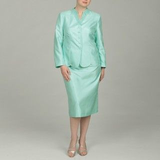 Emily Womens Plus Size Light Mint Embellished Skirt Suit