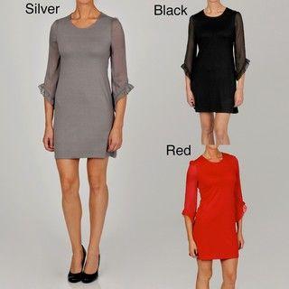 Gold Womens Knit 3/4 sleeve Dress