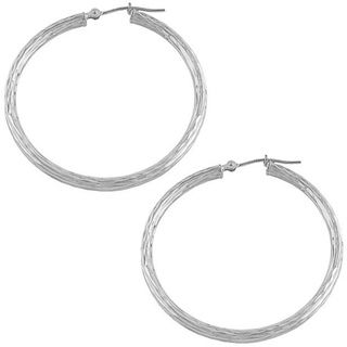 Fremada 14k White Gold 40 mm Diamond cut Hoop Earrings