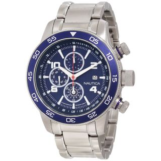 Nautica Mens Stainless Steel Blue Dial Chronograph Watch