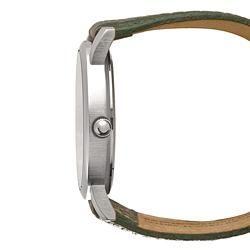 Lucky Brand Womens Silvertone Green Leather Pebblegrain Strap Watch